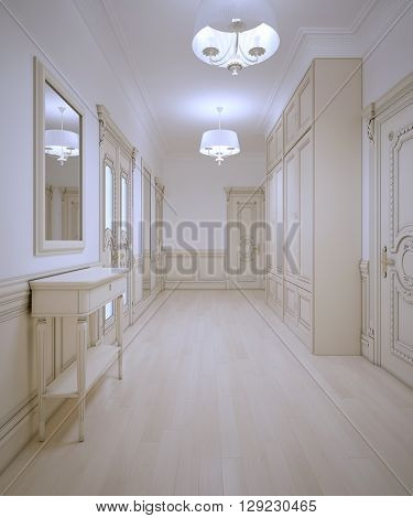 Luxury entrance art deco style. 3D render