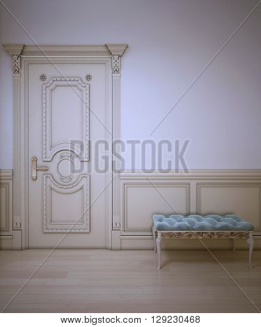 Design of classic entrance. Soft blue bench with decoration in front of white wall with beautiful molding. 3D render