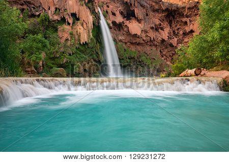 The amazing color of this water at Havasu Falls, Arizona