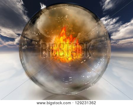 Fire in diviners sphere 3D Render