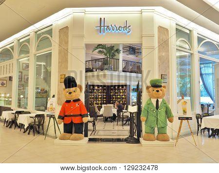 BANGKOK, THAILAND - MAY 2, 2016 : Harrods Tea Room - restaurant at Siam Paragon shopping mall in Bangkok, Thailand. This restaurant is the third Harrods Tea Room in Asia.