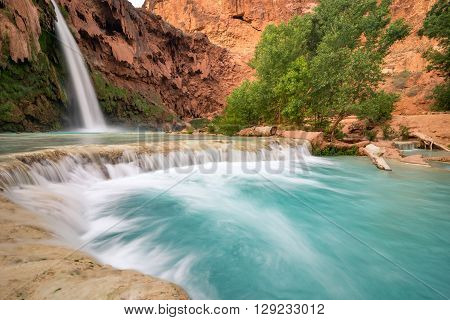 The stunning scenery at Havasu Falls after a long hike through the desert of Arizona