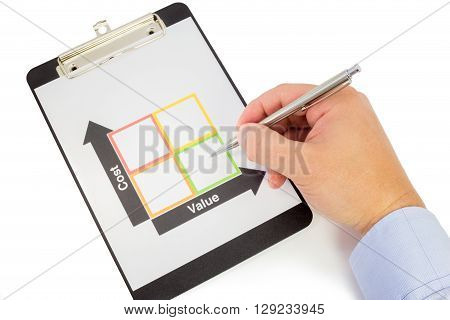 Hand with a pen points at the square with the lowest cost and the highest value in a cost-value matrix