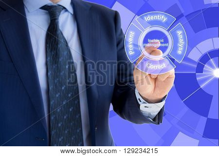 Hand of a businessman pressing the word incident management on blue background within the incident management cycle
