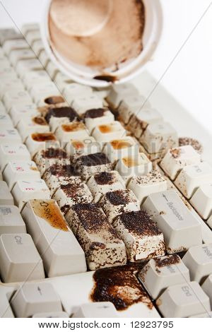 coffee spilling on keyboard