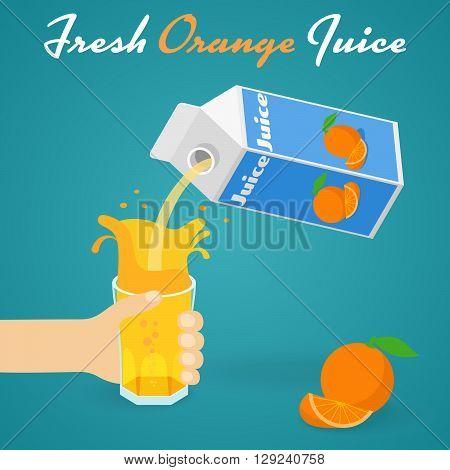Pouring Orange Juice A man pours a glass of orange juice. Vector illustration