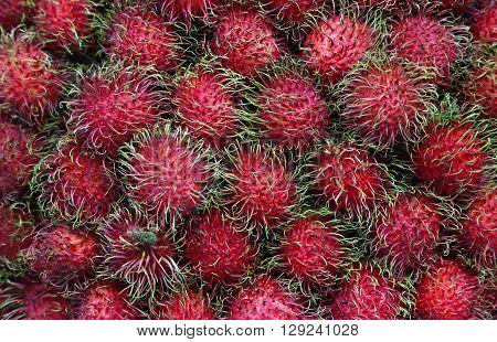 Rambutan fruit - pile of rambutan friut