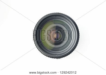 High resolution image of camera lens shot in studio on white background