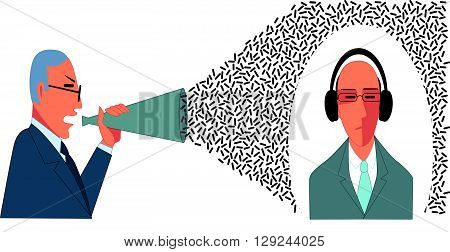 Angry businessman yells in a bullhorn at an indifferent businessman in headphones