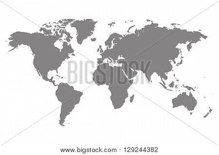 Worldmap vector template for infographic. Gray silhouette of world map. Isolated on white.