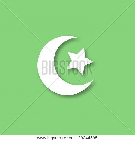 Crescent moon and star vector icon. Crescent moon and star for Ramadan design.