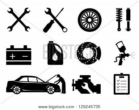 Car maintenance and repair icon set, vector. poster