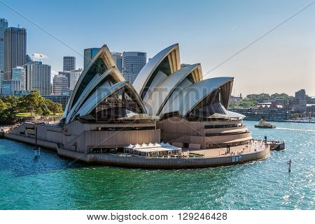 Sydney Australia - November 12 2014: Sydney Opera view from a cruise ship in Sydney Australia. The Sydney Opera is a famous arts center.