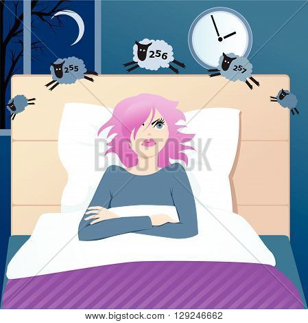 Insomniac young woman in bed counting sheep