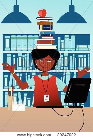 Librarian with books on her head, EPS8 vector illustration