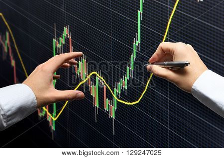 Commodity forex trading technical analysis concept with hands and pen