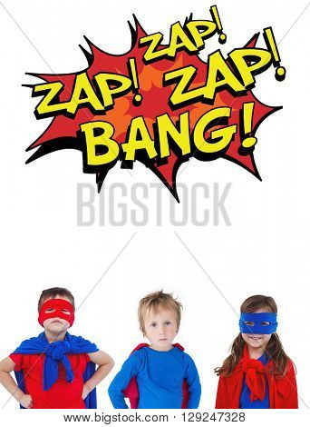 Children dressed as superman against the words zap and bang