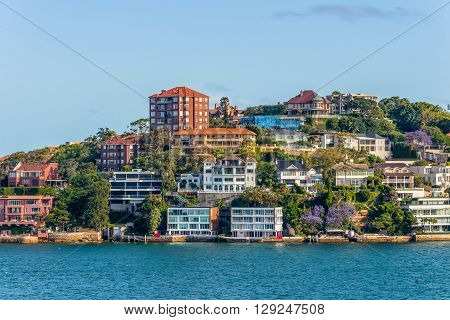 The affluent Sydney harbour-side suburb of Point Piper viewed from Sydney Harbour Sydney New South Wales Australia