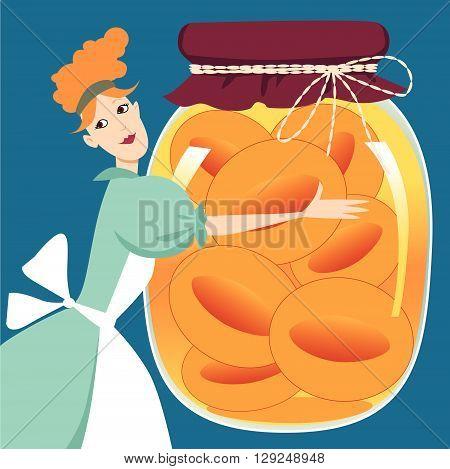 A woman holding a giant jar of peach jam