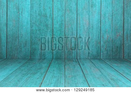 Old blue wooden interior texture background, stock photo