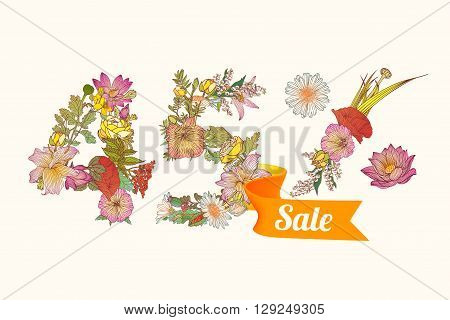 forty five (45) percents sale. Vector floral digits