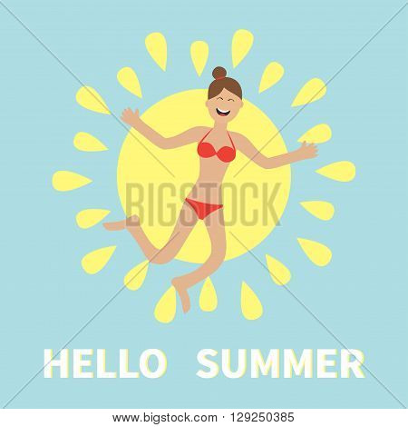 Hello summer. Woman wearing swimsuit jumping. Sun shining icon. Happy girl jump. Cartoon laughing character in red swimming suit. Smiling woman in bikini bathing suit. Blue background. Flat Vector