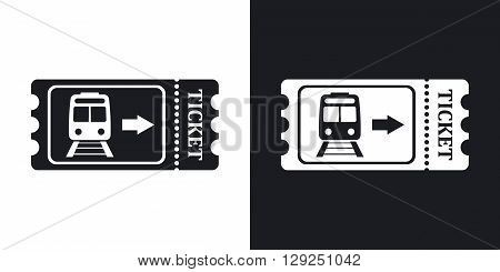 Train ticket icon stock vector. Two-tone version on black and white background