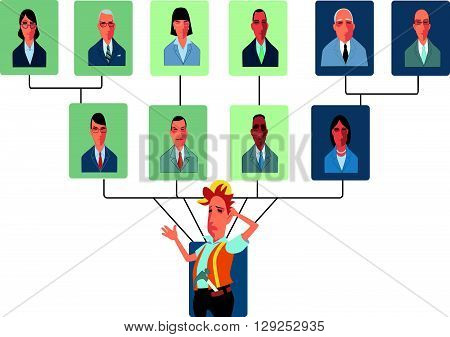 Too Many Bosses in a Top-Heavy Organizational Structure EPS8 vector illustration