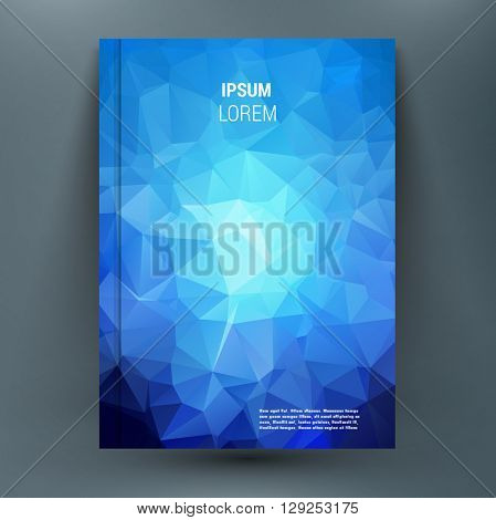 Abstract mockup composition with polygonal backdrop with geometric figures on blue texture. A4 brochure title sheet. First start page of the book. Editable vector illustration.