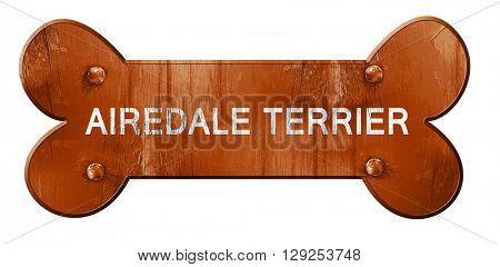 Airedale terrier, 3D rendering, rough brown dog bone
