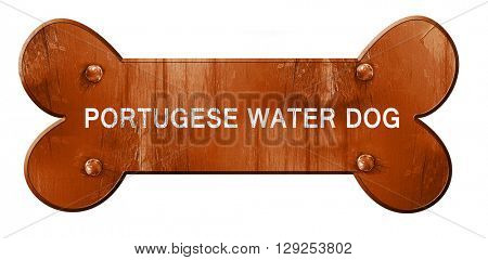 Portugese water dog, 3D rendering, rough brown dog bone