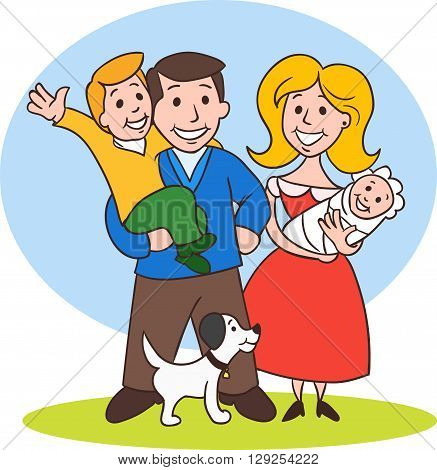 Cute cartoon family in colorful casual clothes.