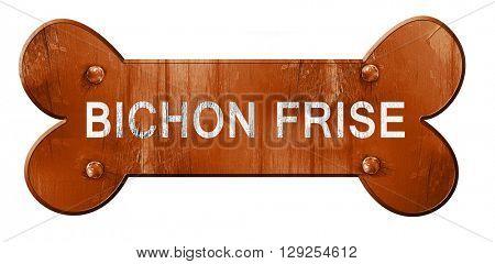 Bichon frise, 3D rendering, rough brown dog bone