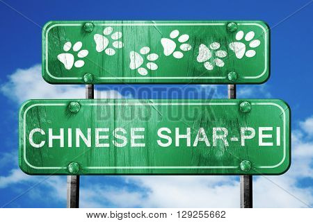 Chinese shar-pei, 3D rendering, rough green sign with smooth lin
