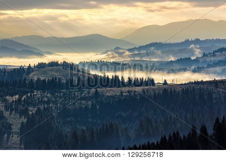cold morning fog with yellow hot sunrise in the mountains