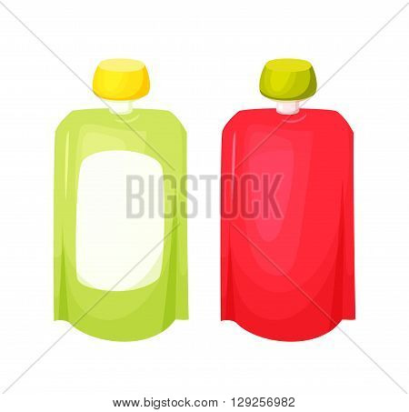 Juice package blank. Fruit purees pack. Sauce packing. Healthy fruit snack in packaging. Mock up juice, sause, dressing, dip, ketchup in package. Baby food. Juice for child in doypack. Drink tamplate