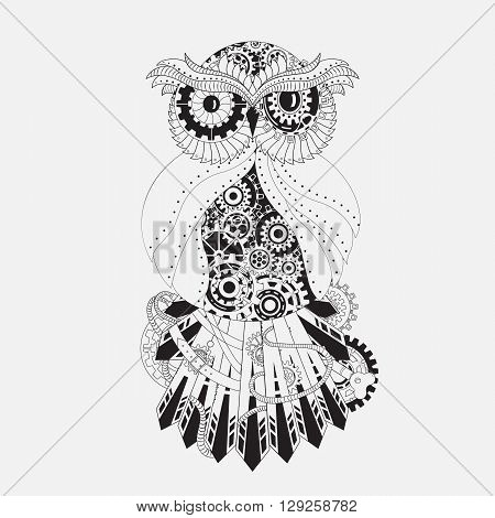 Steampunk outline owl with gear. Metallic steam punk owl made from steel. Vintage steampunk owl isolated on white. Vintage mechanism from gears on owl. Mechanic animal - steampunk owl