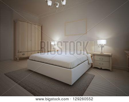 Beautiful interior of bedroom. Master bedroom in light colors. 3D render