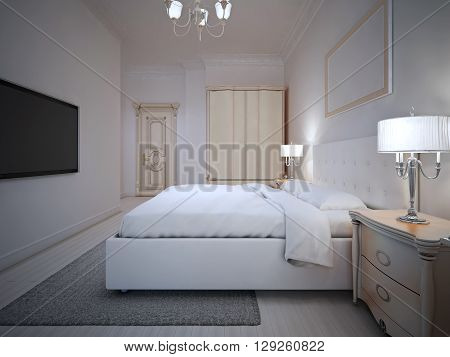 Spacy hotel room interior with wall mounted TV. 3D render