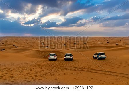 ABU DHABI UAE - FEBRUARY 01: Desert safari in Dubai United Arab Emirates. Dune bashing by a 4x4 car is a very popular activity.