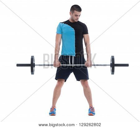 Fitness trainer doing an exercise with barbell. Image isolated on white background.