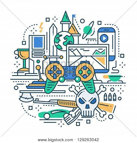 Illustration of vector modern line flat design illustration, header with video gaming equpment and tools