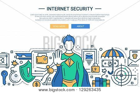 Illustration of vector modern line flat design website banner, header with internet security super hero protecting the network