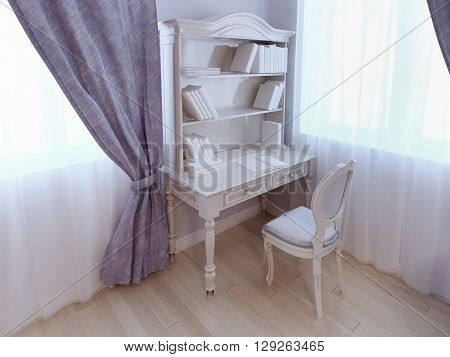 Single desk near window in classic style bedroom for children in purple colors. Light ecru color of table and chair. Light wood parquet flooring. 3D render