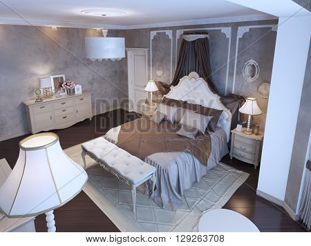 Idea of master bedroom bohemian style. Textured walls with frame molding near bed. Bed with curtains. Cream colored furniture and mahogany flooring. 3D render