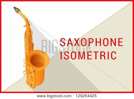 Tenor saxophone isometric flat 3d vector illustration