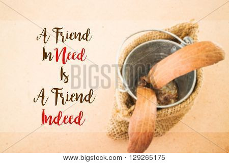 Friendship quote on two-winged Dipterocarpus background stock photo