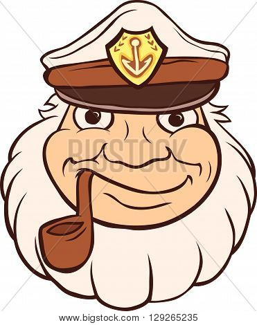 Marine Captain smokes a pipe. Template fisherman head.