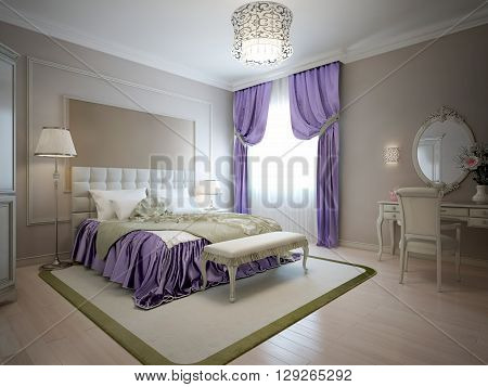 Elegant bedroom classic style in beige colors with purple and olive decorations. Large double bed with white headboard and bench on carpet with olive color frame. 3D render