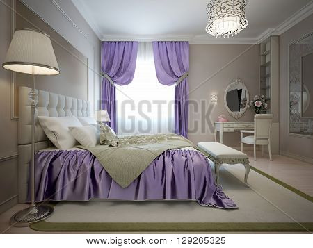 Master bedroom neoclassical style with bright violet decoration. (Purple). 3D render